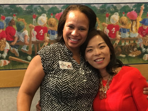 Dr. Minter (left) and her colleague Dr. Yun Boylston celebrating at their practice. Dr. Boylston has participated in all three leadership development tracks of the Kanof Institute for Physician Leadership.