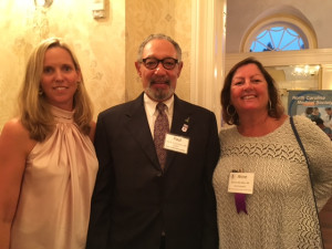 NCMS President Paul R.G. Cunningham, MD, pictured with Shona Martin, MD (l), the New Hanover Pender County Medical Society's first vice president and Anne Allen, MD (r), the Society's Immediate Past President.